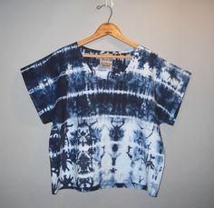 indigo blue shibori striped boxy top // MADE TO by StephanieRasulo