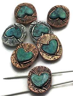 7 heart patina 2 hole slider beads beading d96