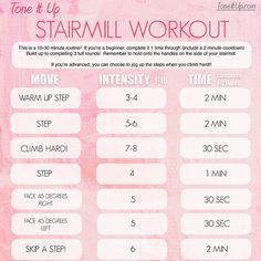 Find a set of stairs or hop on the stairmaster at the gym & complete your Stairmill Workout! Just 10 minutes on the stairs counts as 1 mile toward #100bySummer! Find the full routine & the rest of your daily workouts in the Weekly Schedule on ww.ToneItUp.com! @KarenaKatrina #BIKINISERIES #TIUteam #stairmill #humpday