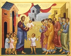 Icon of Christ blessing the children