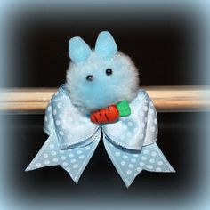 7/8 Lil' Bunny Blue Easter Bow by BellasDogBows, $12.99 USD