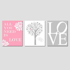 Lovers Tree, Love, All You Need Is Love Beatles Quote - Set of Three 8x10 Prints - Choose Your Colors - GREAT WEDDING GIFT. $55.00, via Etsy.  Ahh I love this!!
