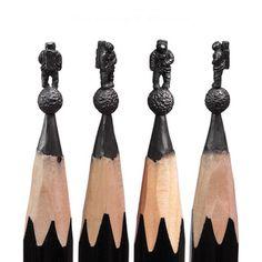 Skulpturen auf einer Bleistiftspitze