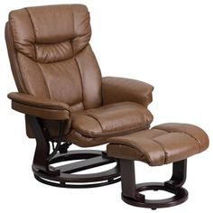 Shop for Leather Swivel Recliner and Ottoman with Wood Base. Get free delivery at Overstock.com - Your Online Furniture Shop! Get 5% in rewards with Club O! - 17467718