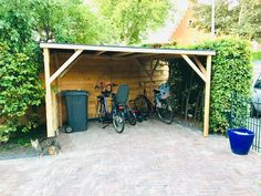 Fietsenhok op maat Shed, Outdoor Structures, Backyard Sheds, Sheds, Coops, Barn, Tool Storage