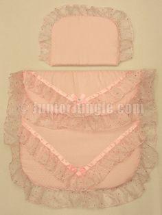 Pram quilt set, pink with pink sparkled trim, £21.