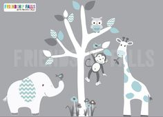Mini Jungle Decals, Small elephant Wall Decal, giraffe decal, Nursery Decal, Monkey, Friendship Falls decal, Aqua Chevron Scene - White Tree...