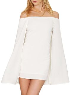 014f6ed38a5 Fashion White Off Shoulder Cape Bodycon Mini Dress - AZBRO.com