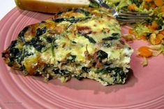 Crustless Bacon, Spinach & Swiss Quiche - Low Carb   I've read through a lot of recipes to come up with my version of this quiche.  I wanted to make one that is crustless and low carb, and this one is a WINNER!  But once I start eating it, I just don't want to stop!  I thought I could make it ahead so I could have a quick breakfast on work mornings, but this rarely lasts out the day it was made!