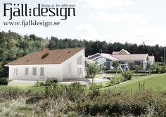 3D modellerad, renderad bild inplacerad i fotografi föreställande nybyggt hus.