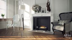 AFIRE Ethanol Fireplace Insert: bring your current, sleeping fireplace back to life with a remote-controlled high-tech bio ethanol burner insert Ethanol Fireplace, Fireplace Mantle, Foyers, Apartment Decoration, Parisian Apartment, Fireplace Inserts, Cool Coffee Tables, Formal Living Rooms, Commercial Interiors