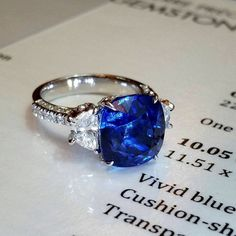 The 10.05ct beautiful natural bright Vivid Blue Sapphire ring will be cherished by the owner for a lifetime  #PrimaGems