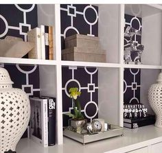Modern-Chic Wallpaper Behind Shelves/Bookcases #ChristinaandTarek #FLIPorFLOP #HGTV