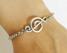 Steampunk Music Note Bracelet- Sterling Silver Ox Finish- Music Note
