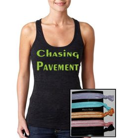 Chasing Pavement Burnout Racer Back Work Out Tank top with 5 Soft FOE Elastic Hair Ties on Etsy, $33.50