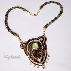 OOAK bead embroidery pendant on beaded rope.
