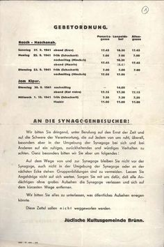 German version of the schedule and policies for the High Holy Days in Brno, Czechoslovakia, 1941. They include a request for the worshippers not to gather in front of the synagogue and not to attract undue attention.