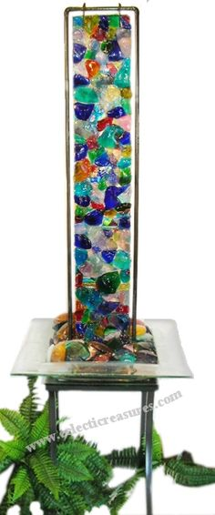 Kerry Cleaver Fused Glass Fountain: Stunning when back-lit from the bowl and front-lit from overhead gallery spotlight!  If it doesn't work in the salon, I'll keep it in my dining room!