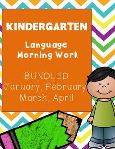 Bundle of January, February, March, and April Kindergarten Language Morning.  Also available separately in my TPT store.Each pack contains16 sentences for Kindergarten students to use as morning work. Each sentence is composed of high frequency words and easily decodable words appropriate for Kindergarten students.