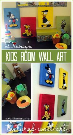 Disney inspired kids room wall art #textured_painting #mickey_mouse #disney