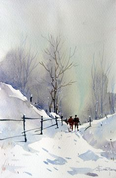 Watercolor, Corneliu-Targoviste - -Watercolor, Watercolor, Corneliu-Targoviste - - Peder Mønsted - Snowy Road and Silver Birches Dean Mitchell Snow Hills watercolor Art Print: Snow Fields - Winter Barn by Michael Humphries : Winter Country Road. Watercolor Pictures, Watercolor Artists, Watercolor Techniques, Watercolor Landscape, Landscape Art, Landscape Paintings, Watercolor Paintings, Watercolours, Abstract Paintings