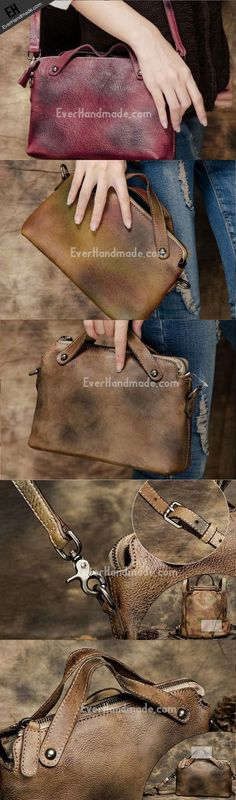 Handmade Leather crossbody purse shoulder bag for women