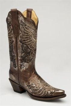 Corral Boots Women's Metallic Bronze Embroidery & Eyelet Winged Heart Cowgirl Boots