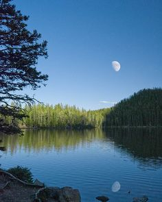 Moonrise over Fairy Lake, Montana. Leaving at noon today to spend the day here