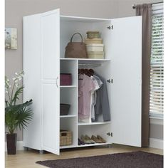 The interior features six (6) shelves of varying sizes that allow you to store both large and small items. There is even a closet rod to store coats or out-of-season clothing. The 48-inch Wardrobe Sto