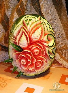 Carved watermelon - I saw many of these beautiful fruit carvings in SE Asia