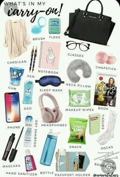 Backpack Essentials, Travel Bag Essentials, Travel Necessities, Road Trip Essentials, Beauty Essentials, Airplane Essentials, High School Essentials, Travel Packing Checklist, Packing Tips For Vacation