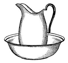 Antique Images: Vintage Pitcher and Bowl Bath Digital Clip Art