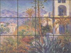 Villas Bordighera is a rustic Italian Villa tile mural by Claude Monet.