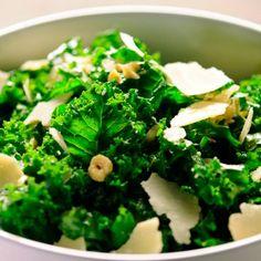 Lemony Kale Salad Recipe Salads with lemon zest, lemon, extra-virgin olive oil, kale, parmesan cheese, blanched hazelnuts, ground black pepper, coarse salt