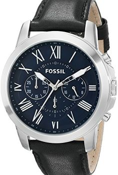 Fossil Men's FS4990 Grant Chronograph Leather Watch – Bl...