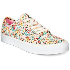 Vans Women's Camden Stripe Ditsy Floral Lace-Up Sneakers ($55) ❤ liked on Polyvore featuring shoes, sneakers, vans, ditsy floral, floral print shoes, floral print sneakers, flower print sneakers, colorful sneakers and multicolor shoes