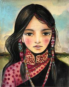 Este un pequeño original que es realmente precioso. Se inspira en la gente de hmong de Asia. Está pintado sobre Fabriano acuarela papel, 300 libras que es gruesa y resistente. Mide 5 x 6 pulgadas Su base del algodón 100%. Siempre me complace responder a sus preguntas. Encontrar más de mis diseños de arte en https://www.etsy.com/ca/shop/claudiatremblay?ref=pr_shop_more mi web es Claudiatremblay.com  Todas las imágenes son propiedad de y todos los derechos reservadas.