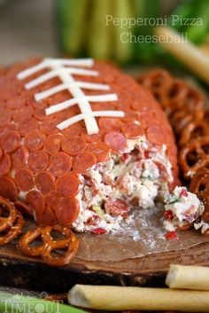 Tailgating Recipes and Football Party Food Ideas Pepperoni Pizza Cheeseball. Tailgating Recipes and Football Party Food Ideas for your stadium gathering on Frugal Coupon Living. Football Party Foods, Football Food, Football Parties, Superbowl Party Food Ideas, Football Desserts, Tailgate Parties, Football Tailgate, Football Humor, Football Football