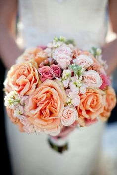 Wedding Bouquet Includes: Apricot Roses, Light Pastel Pink Spray Roses, Pink Spray Roses, Pink Stock, Pink Hypericum Berries>>>>