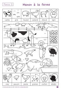 Printing Videos Texture Learn French Videos For Kids Spanish Free Printable Worksheets, Preschool Worksheets, Preschool Activities, Free Printables, French Pictures, Hidden Pictures, French Teaching Resources, Teaching French, Farm Animal Crafts