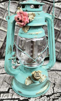 LED Railroad Hanging Lantern,Turquoise gold, shabby chic Glamping Camping Lantern, Vintage Style // need to find a cute old lateen like this!