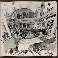 Denver-based artist Paul Heaston's impressive perspective drawings reveal moments from his daily life. // pend drawings