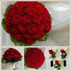 Rote Rosen Brautstrauß