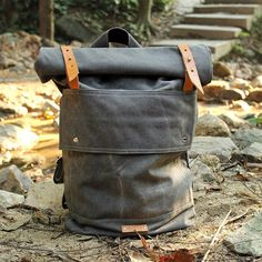 Handmade Waxed Canvas Backpack Waterproof Travel Backpack School Backpack 14142