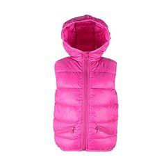 Durio Down Puffer Hooded Stand Collar Vest Lightweight Soft Waistcoat for Kids Girls Children Toddler Warm Outwear