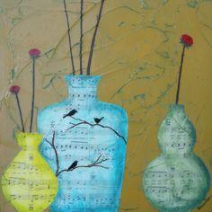 Three-Original Mixed Media Painting. $95.00, via Etsy.