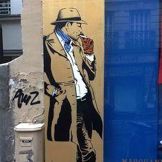 Street art by MissTic in Montmartre, Paris.