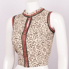 Buy online Hand Block Printed Cotton Blouse With Sleeveless, Zari Edging & Collar Neck 10013140 - Size 36