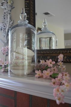 Rooted In Thyme: ~Decorating for the Easter Holiday~ Bell Jars, The Bell Jar, Easter Holidays, Hydrangeas, Projects To Try, Decorating, Kitchen, Ideas, Home Decor