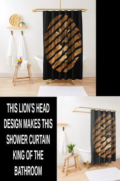 This lion's head design is one of the best shower curtains design for your bathroom decor ideas. It makes the king of the jungle king of your bathroom. This is one of those long bathroom shower curtains that is sure to give your privacy when showering. Elegant Shower Curtains, Bathroom Shower Curtains, Geometric Patterns, Program Design, Decor Ideas, King, Abstract, Home Decor, Summary